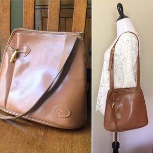 Vintage Longchamp Roseau leather shoulder bag